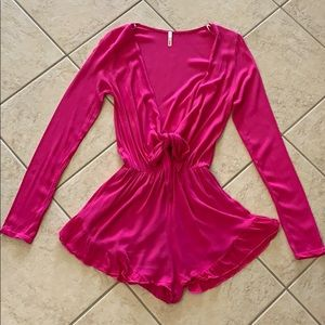 Flow pink tie romper